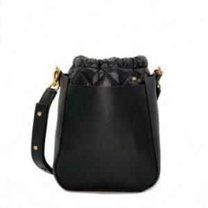 The Bag in Bag - Black Leather Bag & Black Pouf