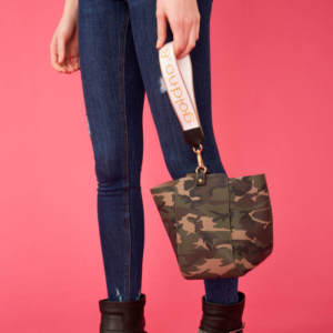 The Trapezoid Clutch - Camo Leather and Yellow/White Logo Strap