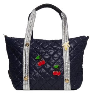 The Reversible Carryall - Stripe/Navy Bag & Silver/Navy Tote Handle