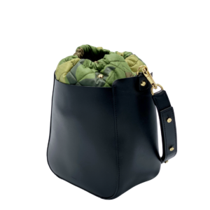 The Bag in Bag - Black Leather Bag & Camo Pouf