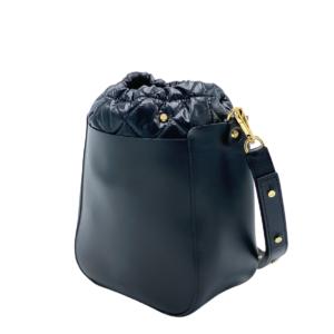 The Bag in Bag - Black Leather Bag & Black Pouf & STARZ strap
