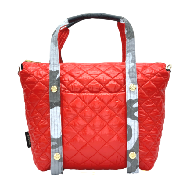 The Reversible Carryall - Camo Grey/Red Bag & Camo Grey/Red Tote Handle