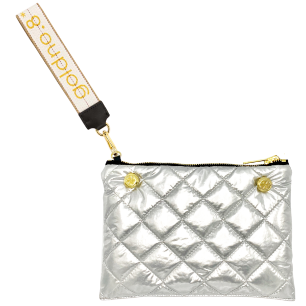 The Reversible Clutch - Silver/Black with White/Yellow Logo Wrist Strap