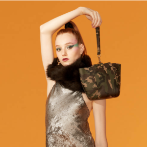 The Trapezoid Clutch - Camo Leather and Camo Leather Strap