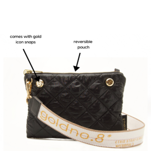 The Reversible Crossbody - Silver/Black with White/Yellow Logo Strap