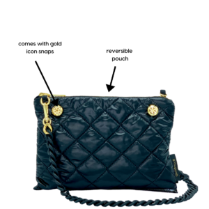 The Reversible Crossbody - White/Black Pouch with Rubberized Chainlink Strap