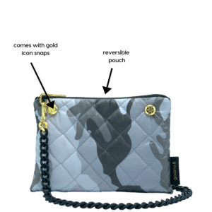 The Reversible Crossbody - Grey Camo/Red with Black Rubberized Chainlink Strap