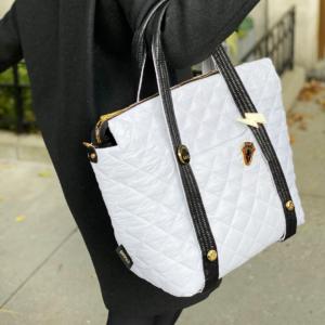 The Reversible Carryall - White/Black Bag & White/Black Tote Handle
