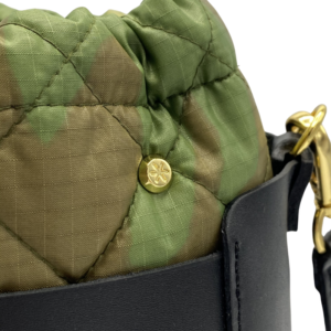 Bag in Bag Max - Black Leather Bag with Camo Pouf