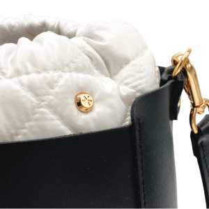 The Bag in Bag - Black Leather Bag & White Nylon Pouf