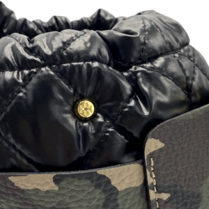 The Bag in Bag - Camo Leather Bag & Black Pouf