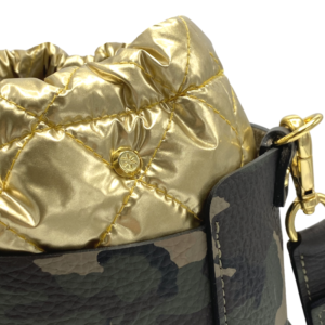 The Bag in Bag - Camo Leather Bag & Gold Pouf