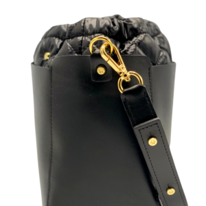 Bag in Bag Max - Black Leather Bag with Black Pouf