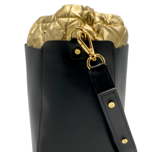 Bag in Bag Max - Black Leather with Gold Pouf