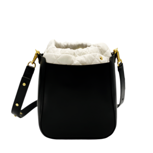 The Bag in Bag - Black Leather Bag & White Pouf