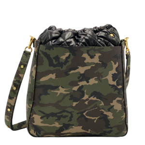 Bag in Bag Max - Camo Leather with Black Pouf