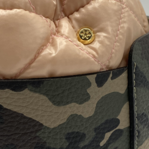 Bag in Bag Max - Camo Leather Bag with Light Pink Pouf