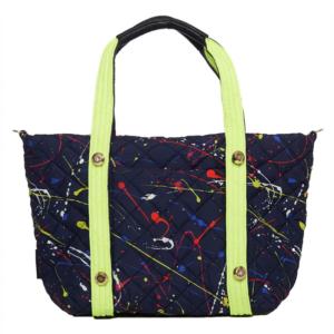 The Reversible Carryall - Splatter/Navy Bag & Neon/Navy Tote Handle