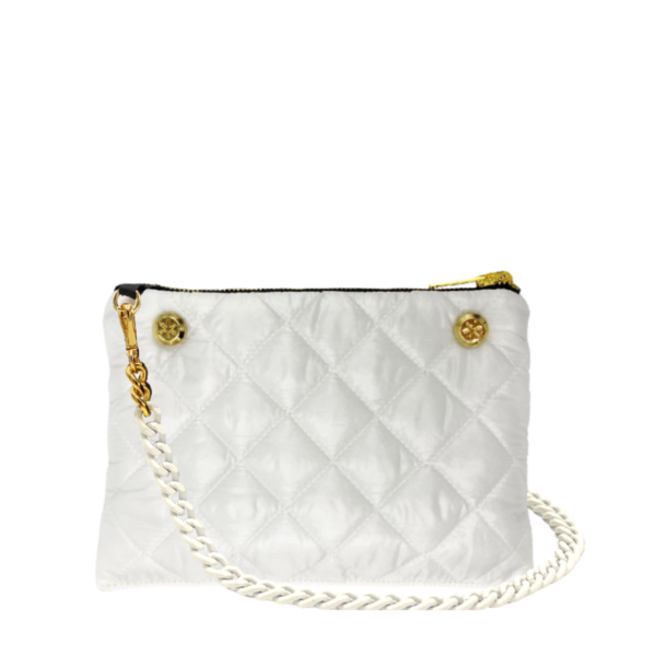 The Reversible Crossbody - White/Black with White Rubberized Chainlink Strap