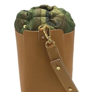 The Bag in Bag - Tan Leather Bag & Camo Pouf
