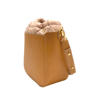 The Bag in Bag - Tan Leather Bag & Light Pink Pouf