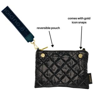 The Reversible Clutch - White/Black  with Black/Grey Logo Wrist Strap