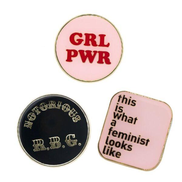 The Fun Feminist Pin Trio