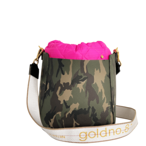The Bag in Bag - Camo Leather Bag & Neon Pink Pouf & Logo Strap