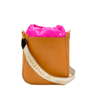 The Bag in Bag - Tan Leather Bag & Neon Pink Pouf