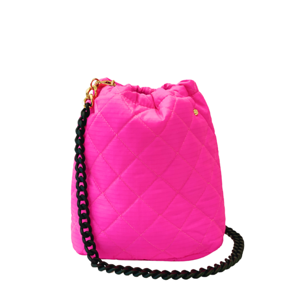 Le Pouf - Neon Pink with Black Rubberized Chainlink Strap