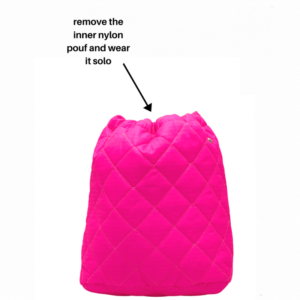 The Bag in Bag - Black Leather & Neon Pink Pouf