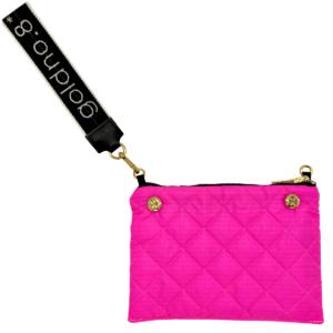 The Reversible Clutch - Neon Pink/Black with Black/White Logo Wrist Strap
