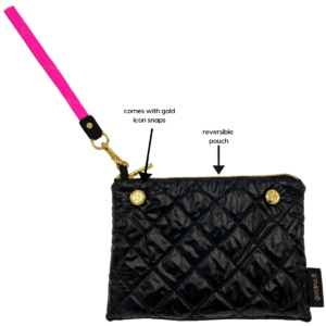 The Reversible Clutch - Neon Pink/Black with Neon Pink Wrist Strap
