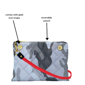 The Reversible Crossbody - Grey Camo/Red with Red Strap