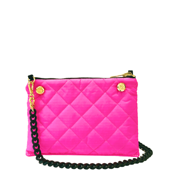 The Reversible Crossbody - Neon Pink/Black with Black Rubberized Chainlink Strap