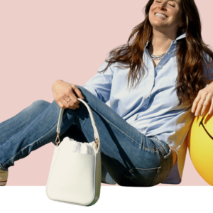 The Bag in Bag - White Leather Bag & White Pouf