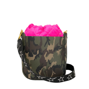 The Bag in Bag - Camo Leather Bag & Neon Pink Pouf & STARZ Strap