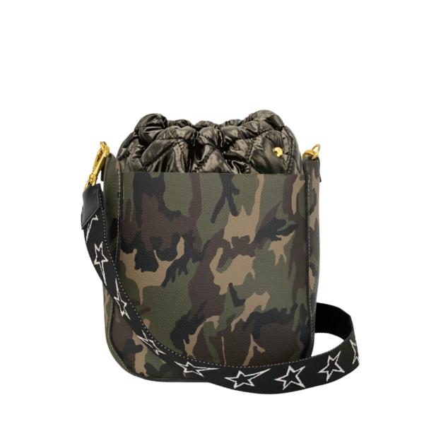 The Bag in Bag - Camo Leather Bag & Black Pouf & STARZ strap