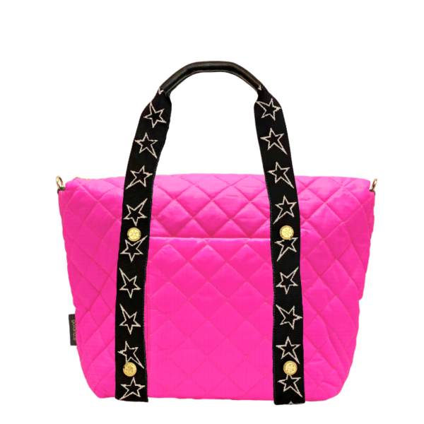 The Reversible Carryall -  Neon Pink/Black & STARZ Webbing Tote Handle