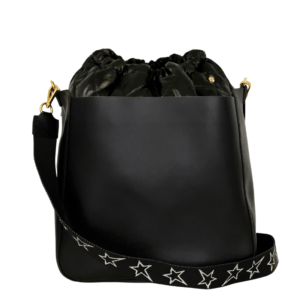 Bag in Bag Max - Black Leather Bag with Black Pouf & STARZ strap