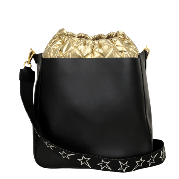Bag in Bag Max - Black Leather with Gold Pouf & STARZ strap
