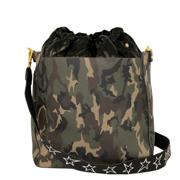 Bag in Bag Max - Camo Leather with Black Pouf & STARZ Strap